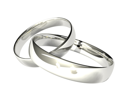 Two Platinum or Silver Rings - Reflected Candles