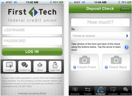 mobile check deposit, first tech