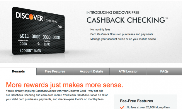 Discover's Cashback Checking image