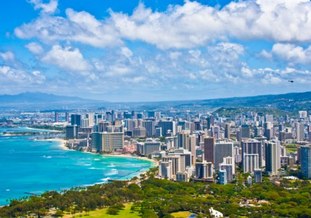 Shutterstock | http://www.shutterstock.com/pic-123012793/stock-photo-beautiful-skyline-of-oahu-hawaii.html