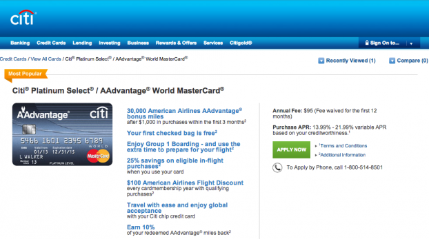 citiplatinumselect:AAdvantage world mastercard