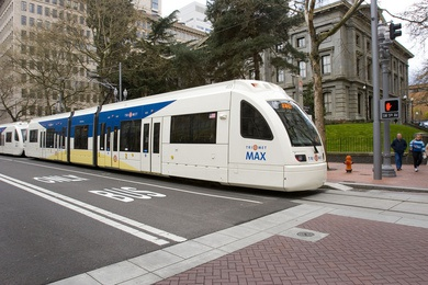 April 9, 2009- Portland, OR- MAX train testing on the Mall