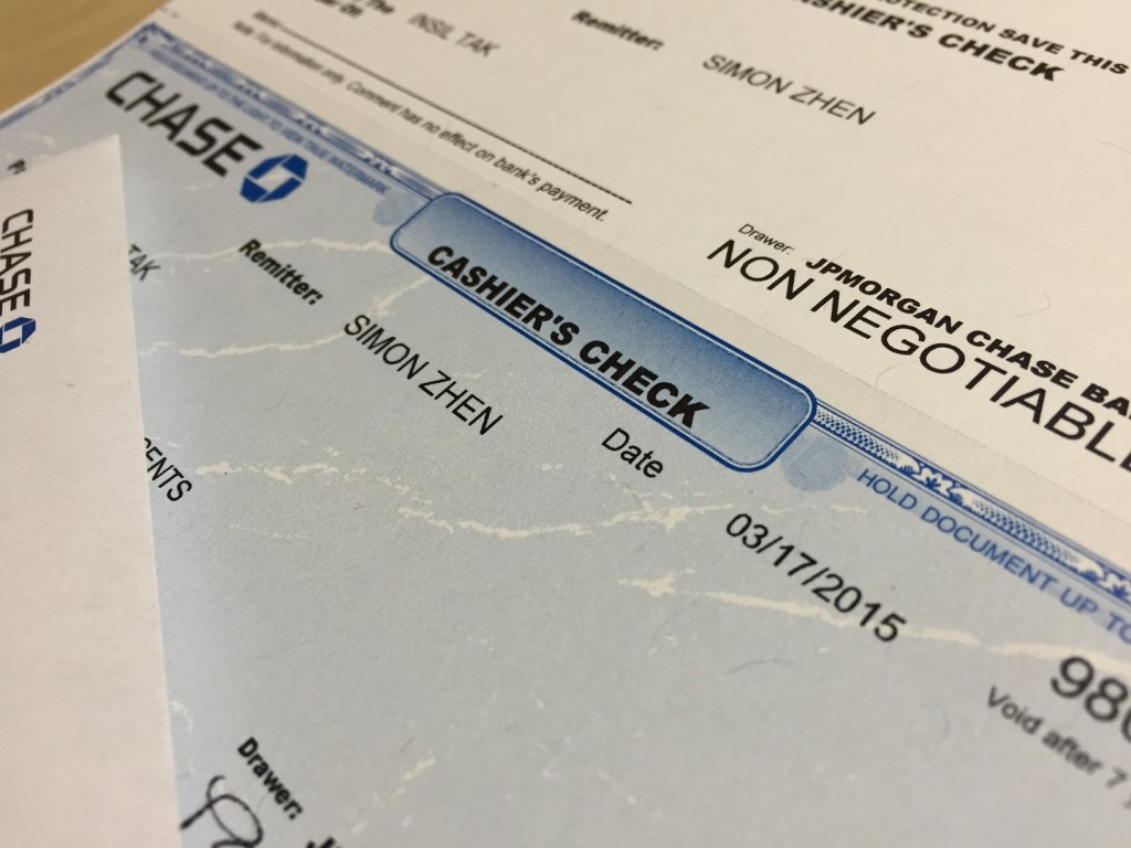 Cashier S Check Money Order And Personal Check Which One