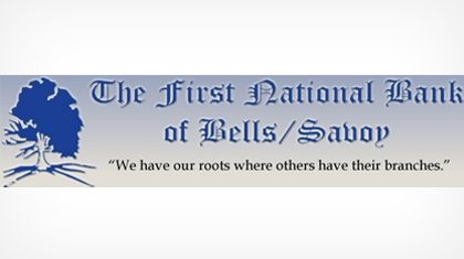 The First National Bank of Bells/savoy logo
