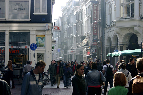 Shopping district in Amsterdam