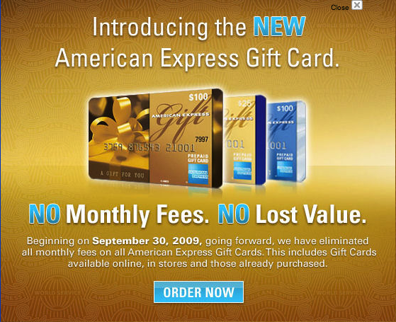 New announcement shown on American Express website