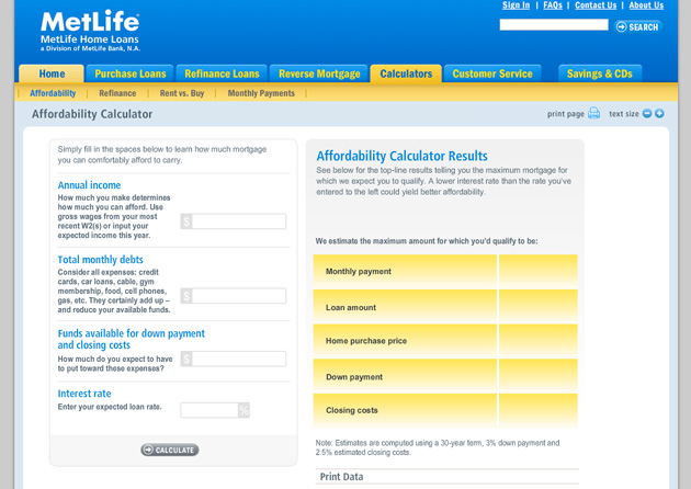 MetLife Mortgage Calculator