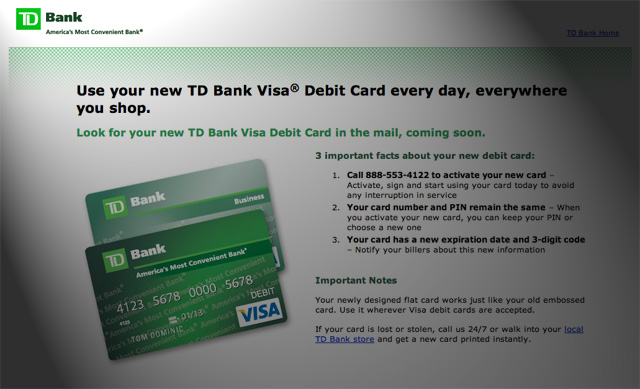td bank replace lost debit card