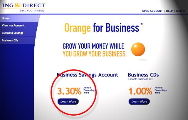 ING Direct 3.3, ING Direct Business savings