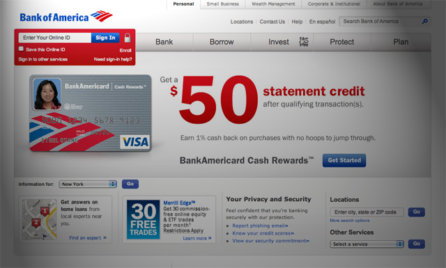 Bank of America Homepage redesign