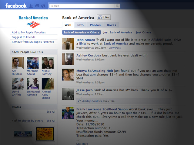 facebook bank of america