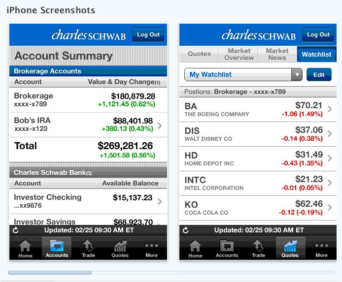 charles schwab iphone app screen shot