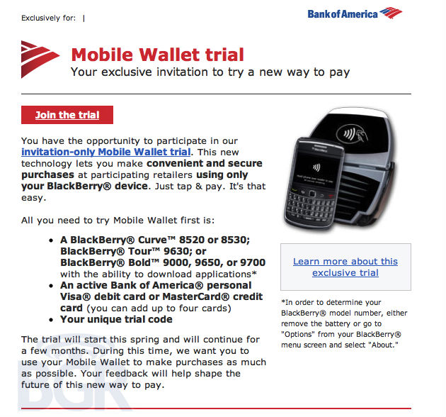 Bank of America Mobile Wallet Invite - BGR