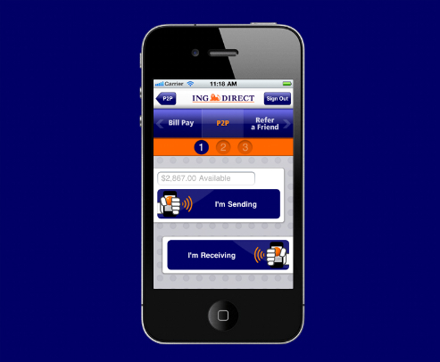 ING Direct iPhone App Bump P2P