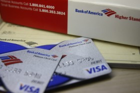 Bank of America debit card and checkbook