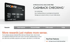 Discover's 'Cashback Checking' vs. Online