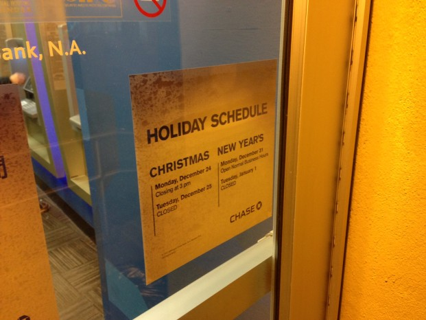 Chase branch new year's hours