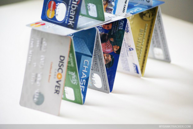 credit card stacked