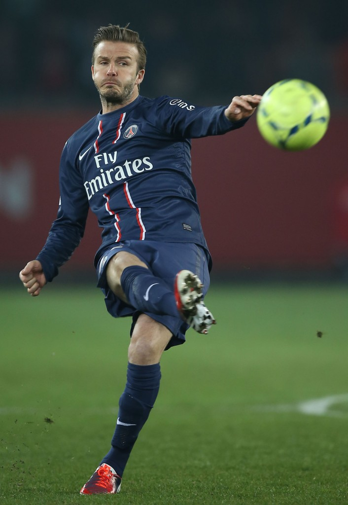 David Beckham In Action Against Montpellier