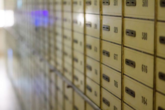safety deposit boxes at the bank