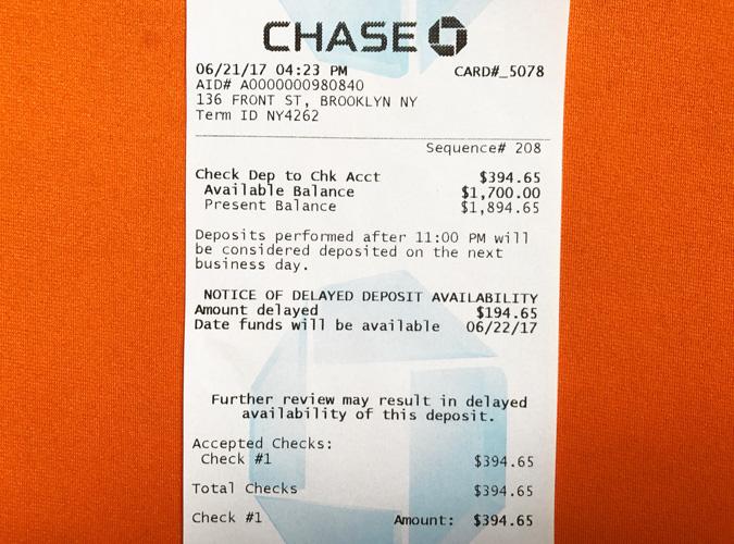 Chase Check ATM deposit