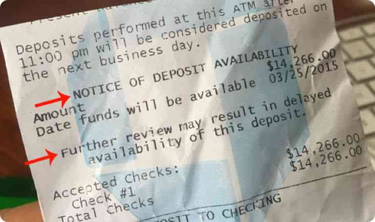 This receipt was from Chase for a deposit that was made on 3/24/15. As you can see, the check deposit will most likely clear the next day, but it also states that there could be a delay.