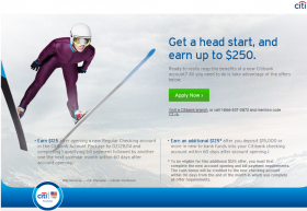 Citibank: Up to $250 Cash Bonus on Opening Citibank Account Package (Jan. 2014)