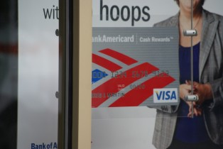 Bank of America credit card sign