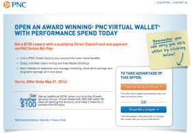 PNC Bank: $250 Bonus for New Checking Account (April 2014)