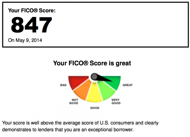 near-perfect FICO score