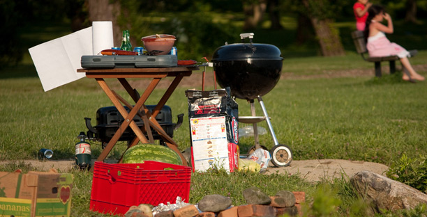 Nowadays, you can bank from anywhere, even when you're at the grill, cooking up some burgers and hot dogs.