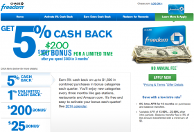 Chase Card Deal: $200 Cash Bonus for Chase Freedom Card (June 2014)
