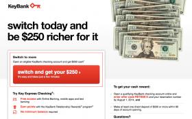 KeyBank Deal: $250 Cash Bonus on New Checking Account