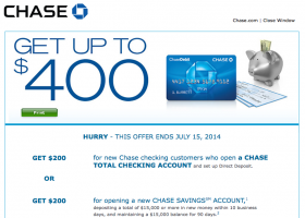 Chase Bank Deal: Up to $400 Cash Bonus for New Checking and Savings Account