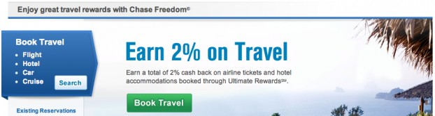 Chase Ultimate Rewards travel booking page