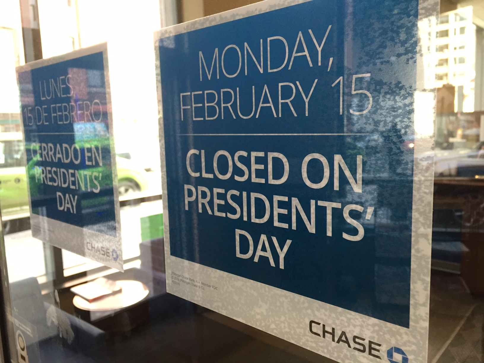 Chase Presidents Day Bank Schedule
