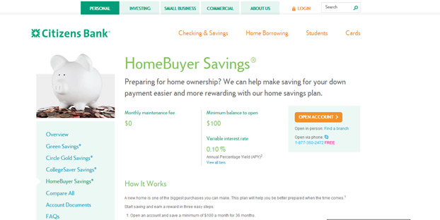 savings account for home down payment image