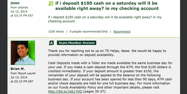 Here's an explanation of how long it would take to deposit cash.