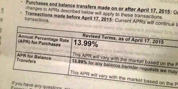 A Twitter user shared this photo of the APR-increase letter for his unspecified card.