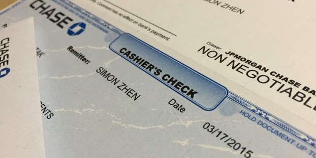 Cashier's checks are regarded as one of the safest payments that could come in paper form.