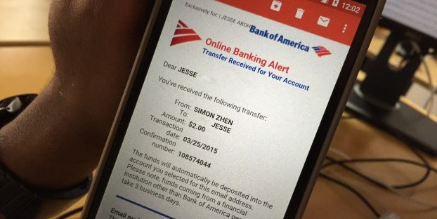 "With no need ""accept"" the money, a  Bank of America just notified the recipient that money was on the way."