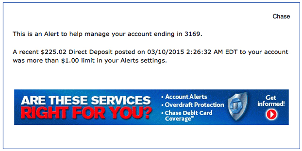 I received this Chase email alert after an incoming transfer to the checking account, from my online savings account.