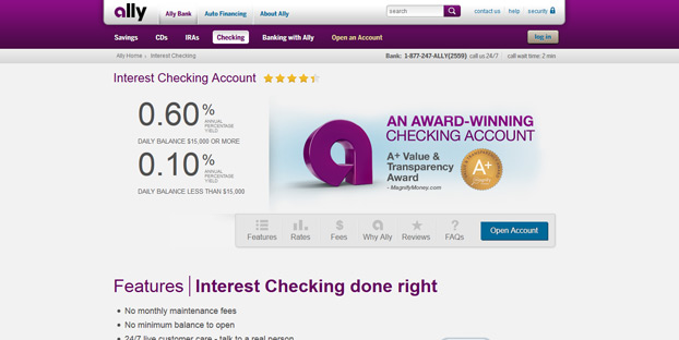 Ally Bank is a great choice for an online-only, fee-free bank.