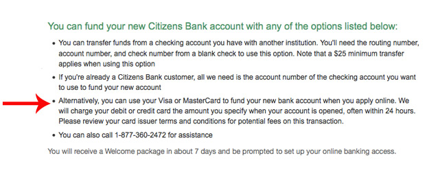 Here is Citizens Bank's policy when it comes to funding your account with a credit card.