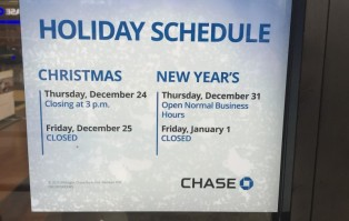 Chase bank christmas schedule