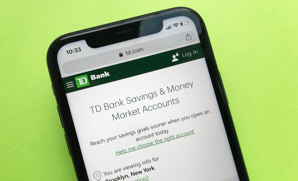 TD Bank Savings Account Website
